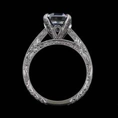 Cathedral Vintage Style Reproduction Asscher Cubic Zirconia Diamonds Hand Engraved Engagement Ring
