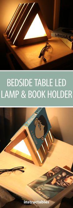 Bedside Table LED Lamp & Book Holder  #woodworking #lighting #decor