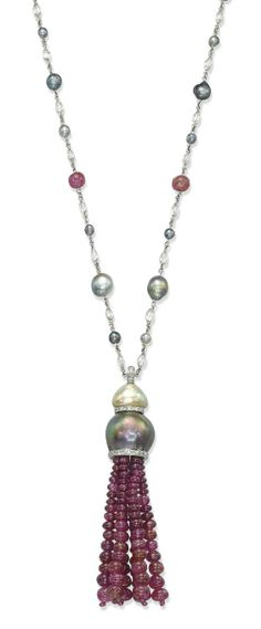 The ruby bead tassel pendant with natural grey and cream pearl surmount and diamond-set rondelle detail, suspended from a natural grey pearl (damaged), ruby bead and diamond briolette chain, chain 58.0 cm, pendant 8.0 cm