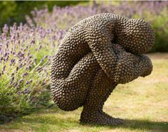 Stone Sculpture - figure squatting with head down - arms around knees - #R0UGH PIN MIX