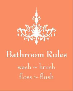 "Chandelier Silhouette Bathroom Rules - 5""x7"" Print"