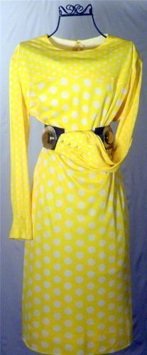 Vintage 1970's yellow white polka dot mod dress