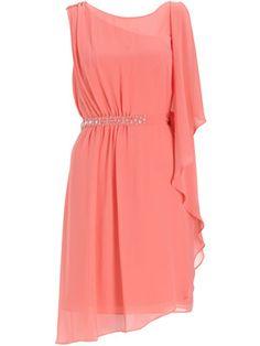 Beautiful Coral Asymmetrical party dress, Stunning hand embellished detail at shoulder & waist, flattering below knee length