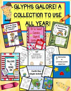 Glyphs Galore! A Collection to use throughout the Year! from Engaging Lessons on TeachersNotebook.com (78 pages)  - A Super 78 Page Collecton of glyphs to use throughout the year!  A wonderful resource to have on hand when you need a little something to add to your lesson or need to give the students some creativity time and break out the colors and markers!  A handy f