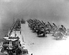 Snow on deck USS Philippine Sea (CV-47) North Pacific, 1945.