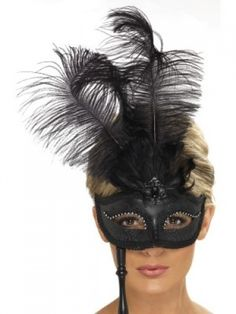 Black Leather Women Eye Mask with Stud Party Costume one size