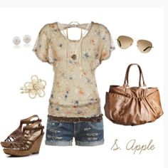 shirt top summer top open back scoop neck flowy sleeves pattern floral pattern heels wedges wedge heels ankle strap bag purse caramel bag shorts long sleeve shirt clothes outfit wedges pattern