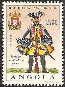 Stamp: Infantry soldier, 1777 (Angola) (Military Uniforms) Mi:AO 529,Sn:AO 517,Yt:AO 524,Afi:AO 506