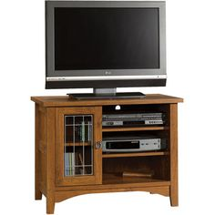 """Sauder Rose Valley Abbey Oak Entertainment Stand, for TVs up to 35"""""""