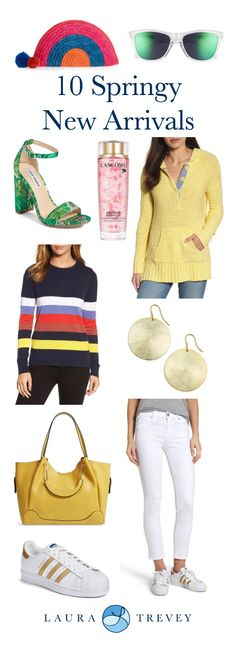 Springy new arrivals are here! With caribbean vacations on the brain and everyone ready for warmer weather, I'm loving the new resort inspired arrivals. From cool sunnies and half moon clutches, to bright and colorful sweaters, here are some of my favorites. Click on product images to shop.
