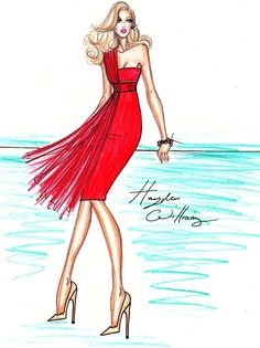 Hayden Williams Fashion Illustrations: Bombshell in Red - SS11 dress by Hayden Williams
