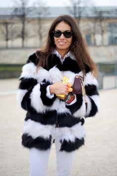 black and white striped fur
