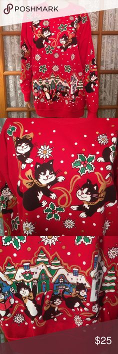 "Ugly (not)  Christmas Sweater Cute Little Cats!!! This is so darn cute!! If you are a cat lover, you will love it! If you are looking for an ugly Christmas Sweater, this is the one!!! Bust is 50"". Length is 27"". Dropped shoulders. Solid red back. 100% acrylic. It is light weight and super soft!! No rips, stains, holes or tears. Non smoking home. Christmas on Mainstreet Tops Sweatshirts & Hoodies"