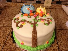 Owls baby shower cake