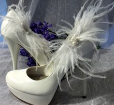 Shoe Clips Ostrich Feather Bridal Wedding Shoe by ShoeClipsOnly, $36.00