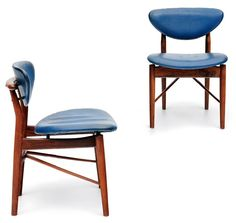 Finn Juhl; #108 Rosewood and Leather Chairs for Niels Vodder, 1946.