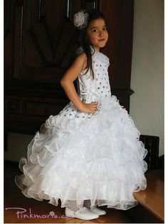 White Gorgeous One Shoulder Embroidery Sequins Flower Girl Dress Sequin Flower Girl Dress, Cheap Flower Girl Dresses, Girls Dresses, Formal Dresses, One Shoulder Gown, First Communion Dresses, Easter Dress, Bridesmaid Dresses, Wedding Dresses