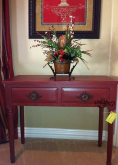Console table painted in Annie Sloan Primer Red by High Style ReStyle.  See more furniture ReStyles at http://www.highstylerestyle.com/