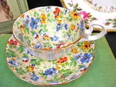 RADFORDS TEA CUP AND SAUCER CHINTZ FLORAL PATTERN TEACUP LOW DORIS D HANDLE SET | Antiques, Decorative Arts, Ceramics & Porcelain | eBay!