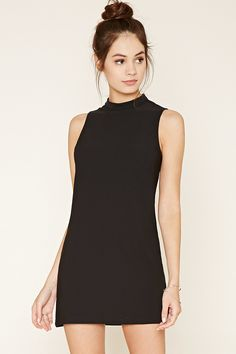 A sleeveless woven dress featuring a shift silhouette with a high neckline, a buttoned keyhole back, and a mini length.