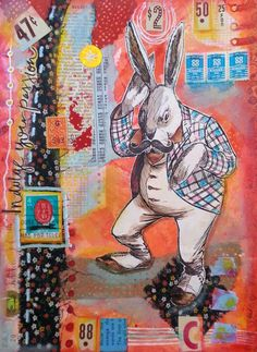 Dani Choate - pyglet whispers - Art journal page...recycled items