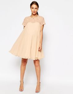 Image 4 of ASOS Maternity Swing Dress With Embellished Top