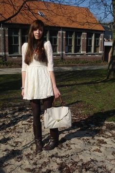 Dark brown vintage boots, white lace topshop dresses, ivory leather urban o Vintage Boots, Vintage Outfits, Brown Tights, Brown Boots, Urban Outfits, Fashion Outfits, White Lace, Lace Dress, Topshop Dresses