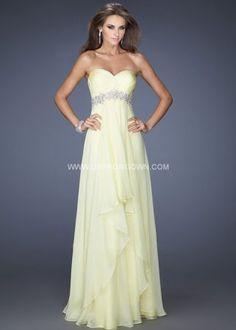 Floor Length Strapless Formal Dress by La Femme 19744 Lemon