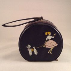 Barbie and Poodle Mini Child's Round Purse Overnight Travel Bag Hatbox