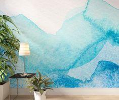Blue Aquarelle Watercolor Wallpaper - 125W x 80H / Canvas