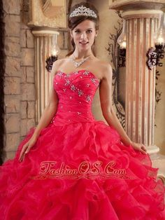c7749c8c4e6 Buy coral red beading sweetheart quinceanera gowns with ruffles from  vintage quinceanera dresses collection