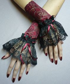 Baroque cuffs made of lace by Estylissimo.deviantart.com on @deviantART