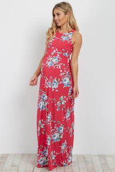 Magenta Floral Sleeveless Maxi Dress
