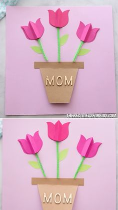 PAPER TULIP CARD 🌷 - such a simple and pretty Mother's day card craft! Easy for kids to make with free printable templates. A lovely Mother's day craft for kids. crafts for kids easy PAPER TULIP CARD 🌷 Easy Mother's Day Crafts, Mothers Day Crafts For Kids, Mothers Day Cards, Fun Crafts, Diy And Crafts, Arts And Crafts, Mothers Day Ideas, Diy Paper Crafts, Simple Crafts For Kids