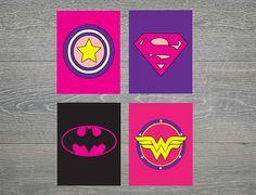 Girl Pink and Purple Super Hero / Superhero Wall Art by armcarthur