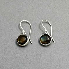 Labradorite Earrings Sterling Silver Drop Bezel Set by @BloomingOak Come see more of her work at 3rd Annual Vintage Jewelry Sale & Tea A showcase of Vintage and Artisan Jewelry, Saturday, February 7th, 2015 at The Community House, Birmingham, MI