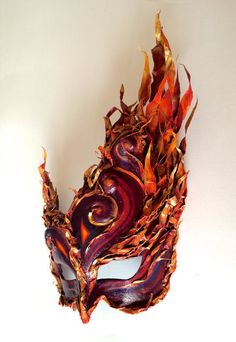 Unique masquerade/ball mask for special occasions, completely hand made. Fire Costume, The Mask Costume, Masquerade Mask Tattoo, Masquerade Party, Pheonix Costume, Dragon Mask, Cool Masks, Venetian Masks, Masks Art