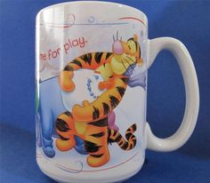 "Coffee Mug Cup featuring Tigger, Pooh Bear, EEYORE and Piglet. Mug says ""Time for Play"" Made by Disney, Holds 12 oz. #Eeyore"