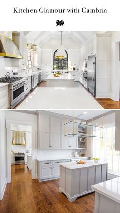 Double kitchen islands, a mixed-metal range hood, brass accents, and Cambria quartz countertops create the ultimate in kitchen glamour. This bright white kitchen space features Torquay™ from Cambria's Marble Collection™, a high-performing marble alternati White Kitchen Appliances, White Ikea Kitchen, White Kitchen Wall Tiles, Luxury Kitchens, White Marble Kitchen Countertops, White Kitchen Vintage, White Kitchen Tiles, White Kitchen Rustic, Metal Range Hood