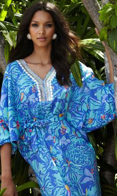 Lilly Pulitzer Resort '13- Wilda Maxi Caftan in Iris Blue Mai Tai