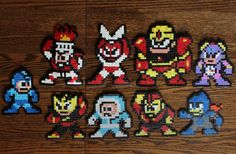 Megaman / Rockman sprites set from the first NES game including the Powered Up characters, made from Hama beads.  If you are interested in a