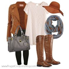 Frugal Fashion Friday Lace Fall Dress Outfit plus weekly Polyvore Type outfit layouts for the season - Mix Brown, Gray, and Cream. Lace Dress, Gray Hobo Bag, Brown Biker Jacket, Brown Tall Boots, Gray Fox Infinity Scarf and Floppy Felt Hat.