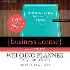 Printable Wedding Planner - Includes Professional Business Use License