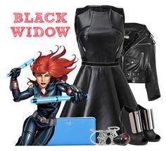 """Black Widow"" by janastasiagg ❤ liked on Polyvore featuring Balenciaga, Giuseppe Zanotti, Kate Spade, NOVICA, Marvel, marvel, BlackWidow, theavengers, HeroBounding and fanaticskingdom"