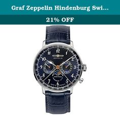 Graf Zeppelin Hindenburg Swiss Quartz Moonphase Calendar Dress Watch 7036-3. This is a sharp looking retro-styled Moonphase watch with a radiant blue color dial, breguet-styled hands, and arabic numerals. It features a 40mm stainless steel case that is just 10mm thick and it comes with sub-dials for day and date plus a silver pointer for the number of the week. It also features a moonphase sub-dial at the 6:00 position on the dial and it has a retro type Hesalite dome crystal. The watch…