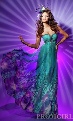 Theme: Under the Sea. Cool colors flowy dress