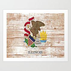 Rustic print of Illinois State flag