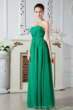 Hunter Sweetheart Zipper Elegant Sleeveless Ruched Empire Floor-length Empire Waiste Chiffon Evening Dress