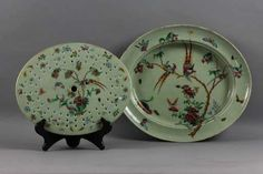 Lot: Chinese Celadon Rose Canton Platter with Strainer, Lot Number: 0235, Starting Bid: $500, Auctioneer: Manatee Galleries, Inc., Auction: Fine Asian and Estate Antiques, Date: May 18th, 2013 EDT