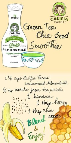 Cooking with Califia: Green Tea Chia Seed Smoothie Green Tea Chia Seed Smoothie (vegan) Best Smoothie Recipes, Smoothie Drinks, Detox Drinks, Yummy Drinks, Healthy Drinks, Green Tea Drinks, Chia Seed Smoothie, Almond Milk Recipes, Milk Nutrition
